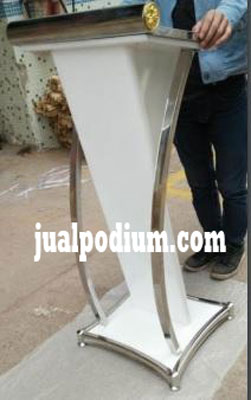 Podium Stainless Mewah Cat Duco Putih