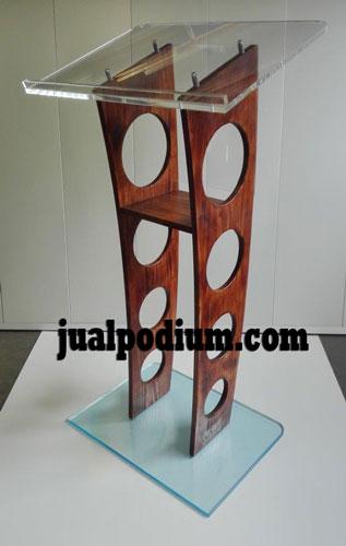 Mimbar Podium Kayu Kombinasi Acrylic